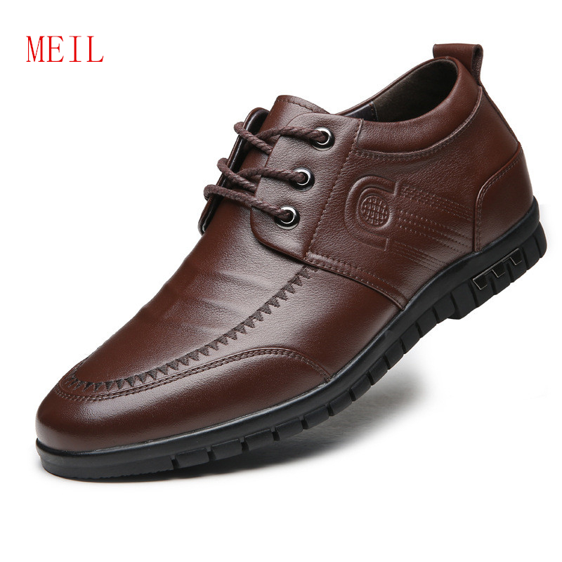 Elevator Shoes For Men Genuine Leather Casual Comfortable Lace Up Breathable Newest Height Incresing Shoes With Getting 6CM Tall