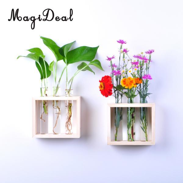 Magideal Wall Hanging Crystal Glass Test Tube Vase In Wooden Stand