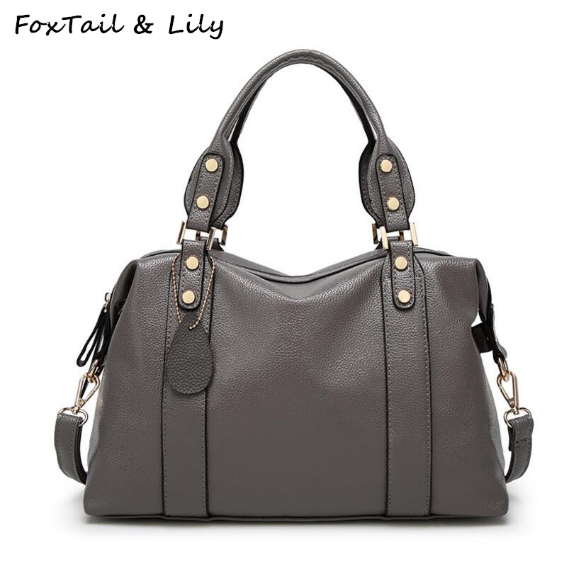 FoxTail & Lily Woman Genuine Leather Bag Fashion Luxury Handbags High Quality Women Shoulder Messenger Bags European Style foxtail