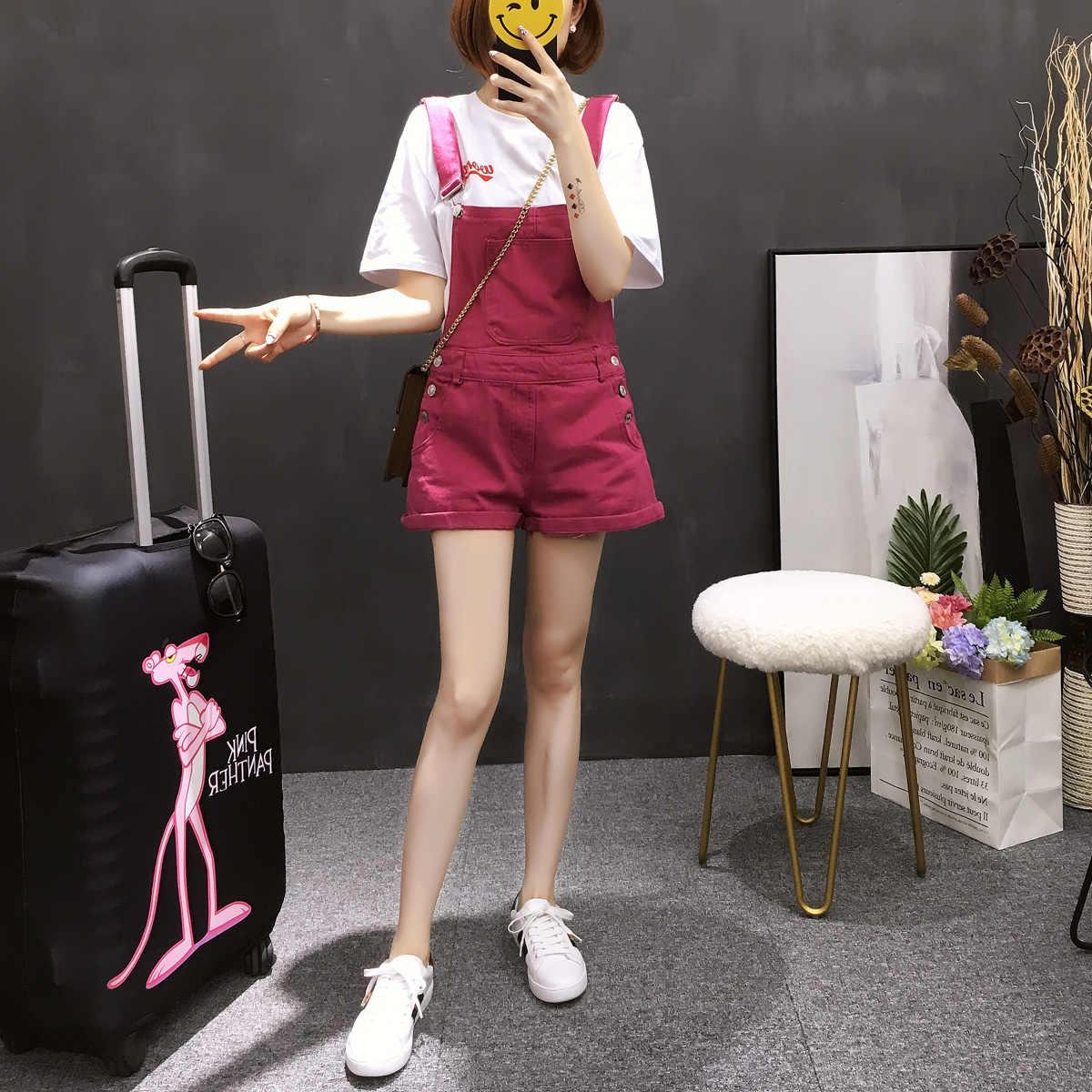 Летние для женщин без рукавов джинсовый комбинезон корейской моды Спецодежда с карманами повседневное свободные бретели для нижнего белья шорт
