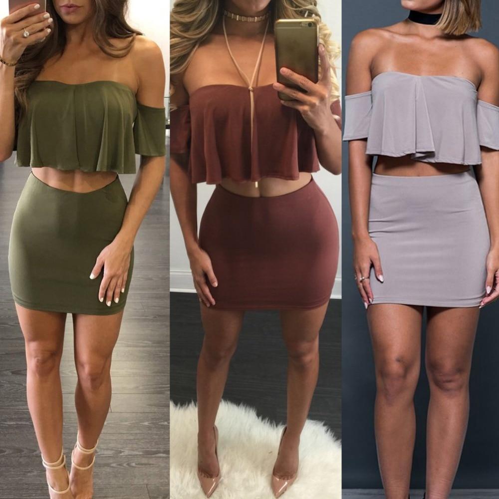 Aliexpress.com : Buy Women Off Shoulder 2 Piece Bodycon Dress Sexy ...