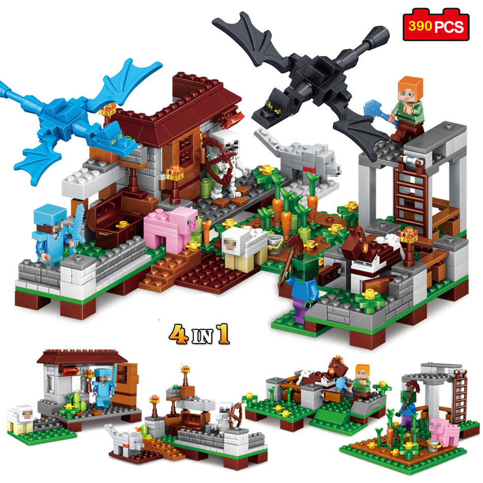 390pcs 4 in 1 Mini Steve Village Castle Model Building Blocks Figures Compatible Minecraft Legoed City Child Gift Toy For Child 4 in 1 minecrafted garden figures building blocks diy bricks compatible with legoed minecraft city classic toy gift for children