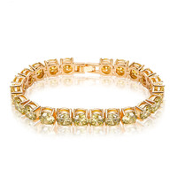New Fashion 7mm Round AAA Olive Yellow Zircon Champagne Gold Plated Bracelets Bangles Charm Bracelet For