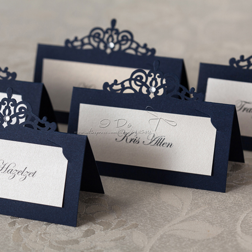 Wedding Table Place Card Ideas: Free Shipping 24cs Royal Blue Place Card Holder Wedding