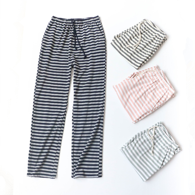 Female Cotton Sleep Bottoms Spring And Autumn Thin Striped Home Long Pants Knitted Cotton Elastic Wasit Women Pants