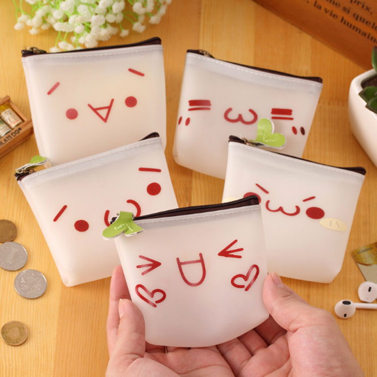 2017 New Women Cute Cartoon expression Mini Coin Purse silicone Wallet Pouch Bag Kids Keychain Card Holder Bag For Kids Gift