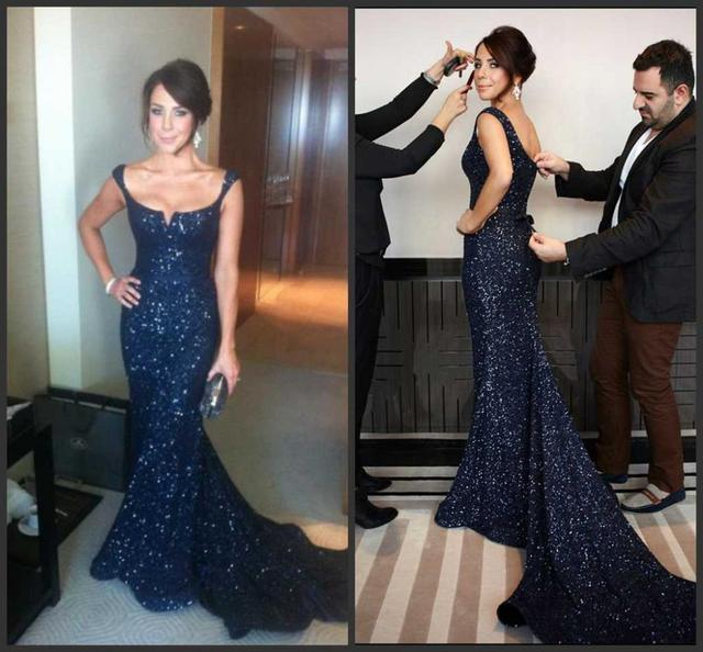 Sexy Off Shoulder Celebrity Beaded Sequins Navy Blue Mermaid Formal Dresses  Court Train Backless Prom Evening Party Gowns 5a63767f0d82