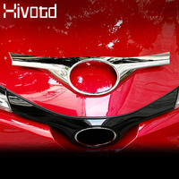 Hivotd For Toyota C HR CHR Chrome ABS Car Front Grill Grille Upper Cover Logo Trim Exterior Accessories car Styling 2018 2019|Chromium Styling|   -