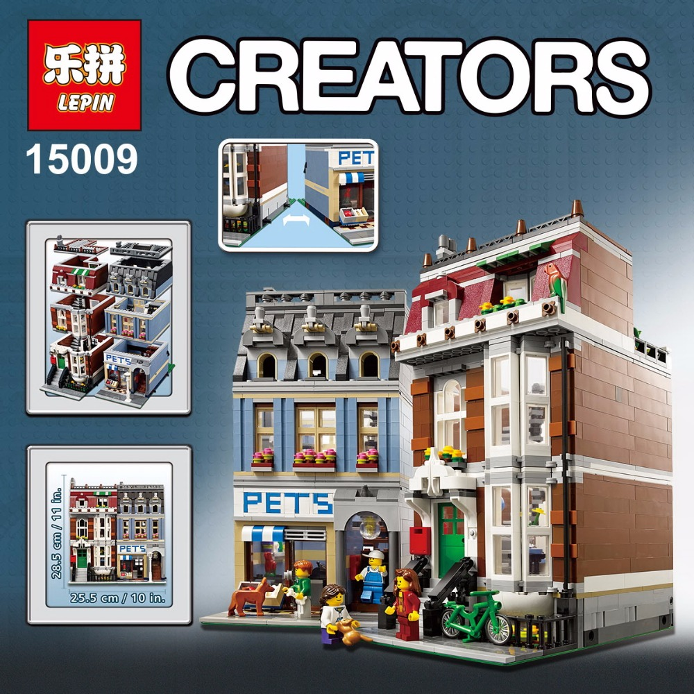 LEPIN 15009 Pet Shop Supermarket Model City Street Building Blocks Compatible 10218 Toys puzzele For Children kids gift toys 0367 sluban 678pcs city series international airport model building blocks enlighten figure toys for children compatible legoe