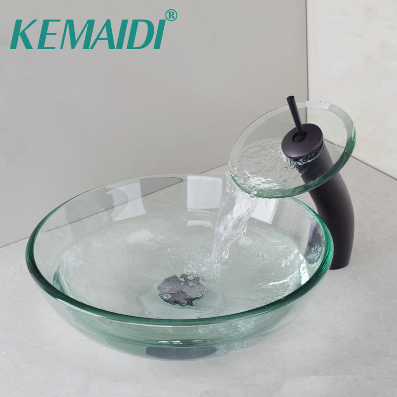 KEMAIDI Oil Rubbed Bronze Waterfall Faucet +Victory Glass Bowl Bathroom Sink Wash Basin With Tempered Glass Bathroom Sink SetKEMAIDI Oil Rubbed Bronze Waterfall Faucet +Victory Glass Bowl Bathroom Sink Wash Basin With Tempered Glass Bathroom Sink Set