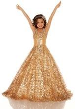 Unique Beaded Halter Ball Gown Gold Floor Length Little Girl Kid Pageant Dresses