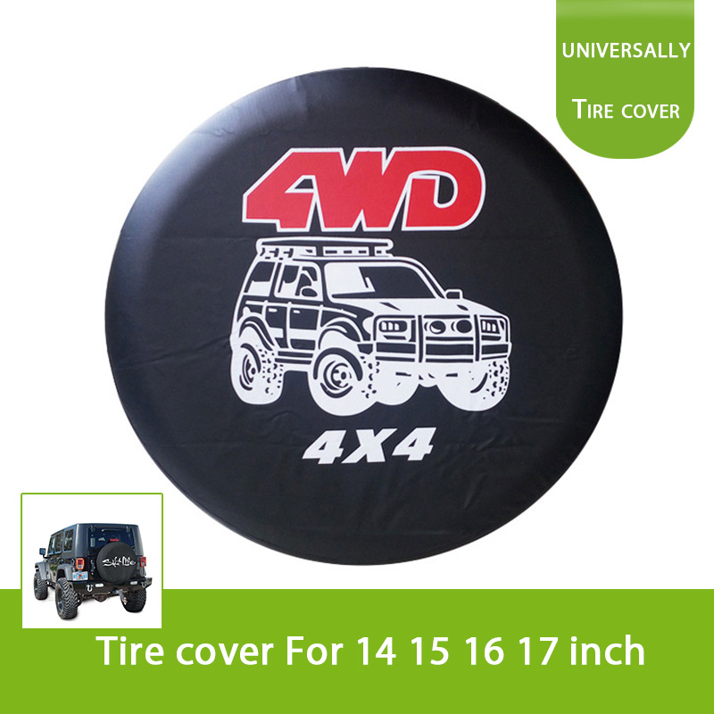 14 15 16 17 Happy Camper Camping Spare Tire Cover Wheel Cover Dust-Proof Waterproof Tire Cover Protection for Trailer RV SUV Truck Camper Travel