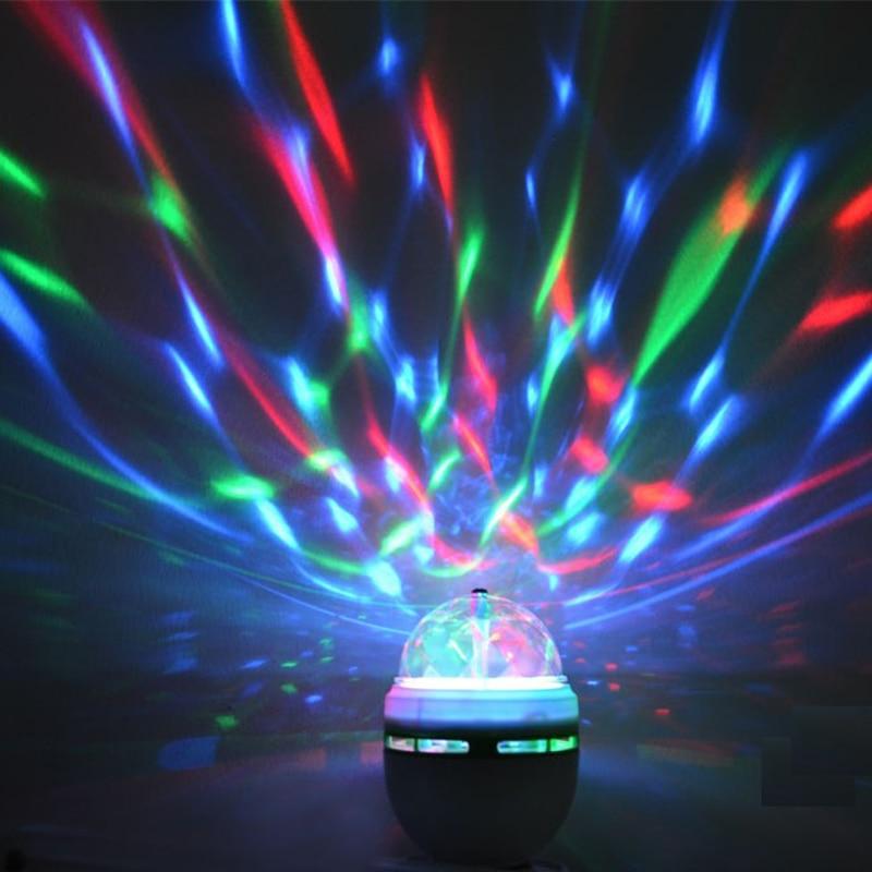 E27 3w 6w Colorful Auto Rotating Rgb
