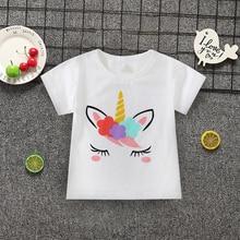 2019 algodón niños Camiseta 2-5 T bebé niño Tops verano nuevos productos Niñas Ropa niños unicornio estampado camiseta de manga corta