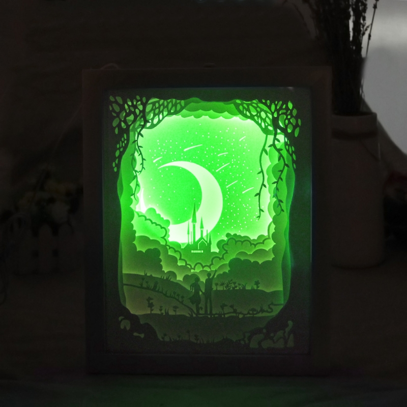 YAM Light Shadow Papercut Light Box LED USB Night Light Lamp Creative Paintings Lovers S ...