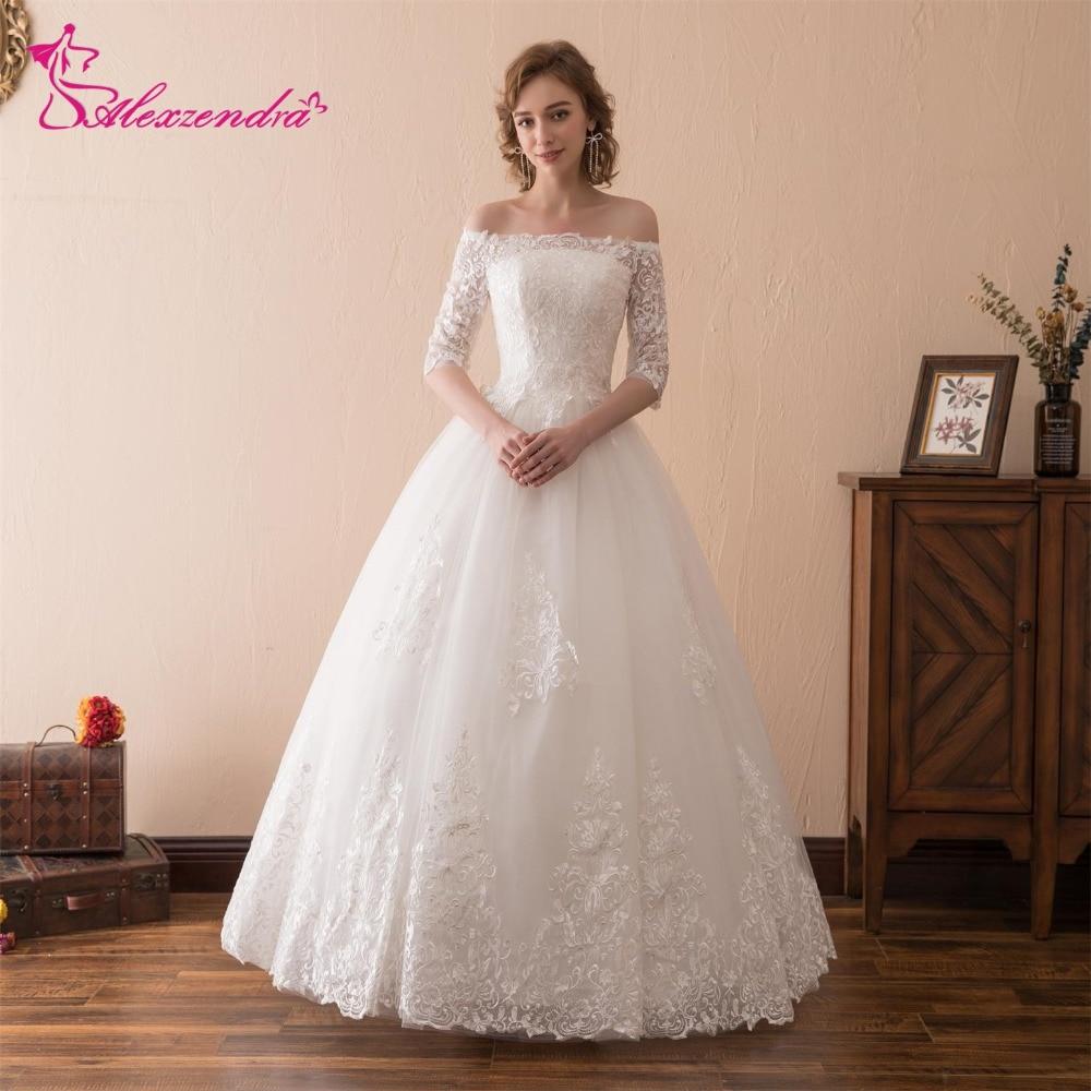 Alexzendra Stock jurken A Line Lace Vintage trouwjurk met korte - Trouwjurken - Foto 1
