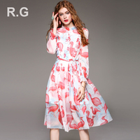 RG Runway Designer Boho Dress Women S Long Sleeve Gauze Retro Noble Animal Bird Printed Female