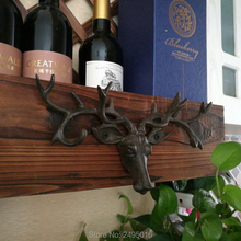 Wall-Mounted Cast Iron Mounted Deer Head with Hooks Key Holder