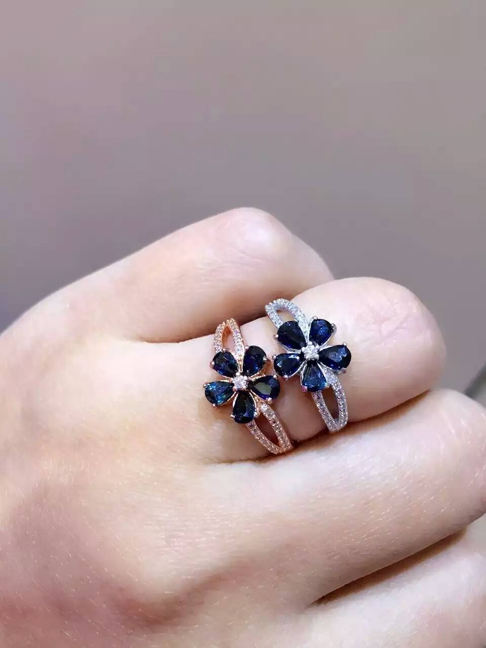 Natural blue sapphire gem Ring Natural gemstone Ring 925 sterling silver trendy luxurious big flowers women wedding gift Jewelry