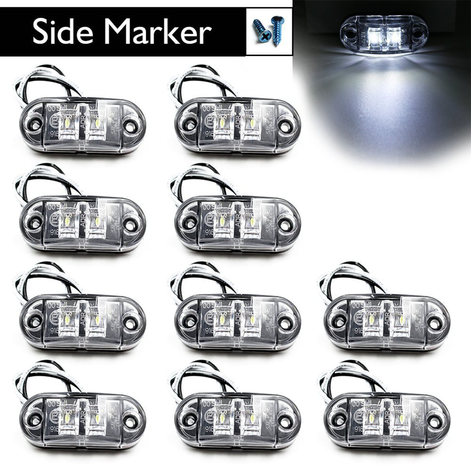 CYAN SOIL BAY Car Styling Accessories 10X White Side Marker Light Rear LED Clearence Lamp Indicators Truck Trailer Car Boat 10pcs 6 led red white green blue yellow amber clearence car truck bus lorry trailer side marker indicators light lamp 12v 24v