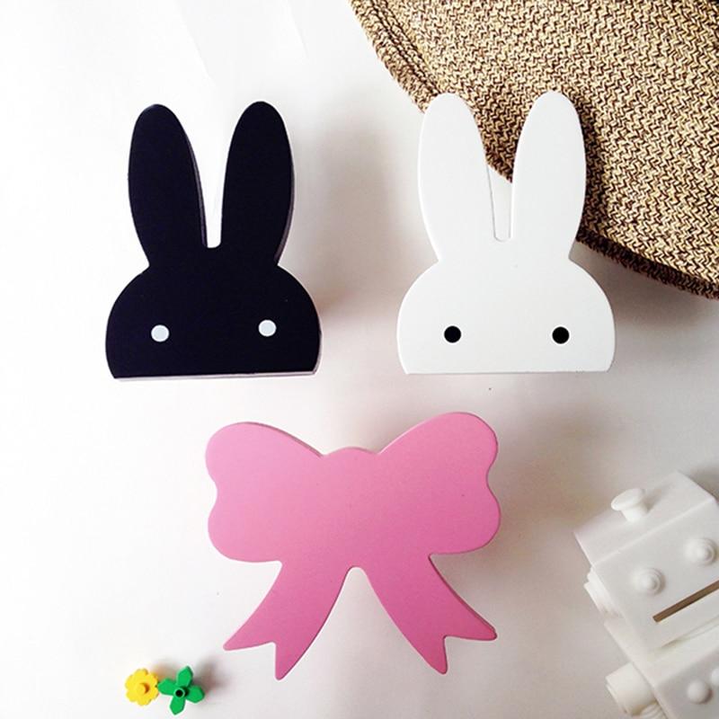 Cute Bunny Wooden Wall Hangers DIY Hooks Rabbit/Cloud/Bow
