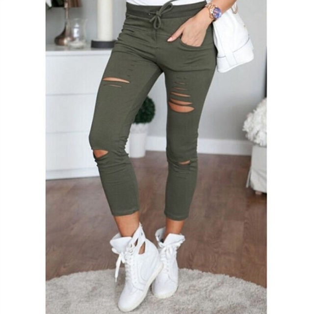 2017 das Mulheres da Moda Casuais Calças Lápis Calças Stretch Skinny Slim Fit Exército Verde Oco Leggings Novas Mulheres de Roupas