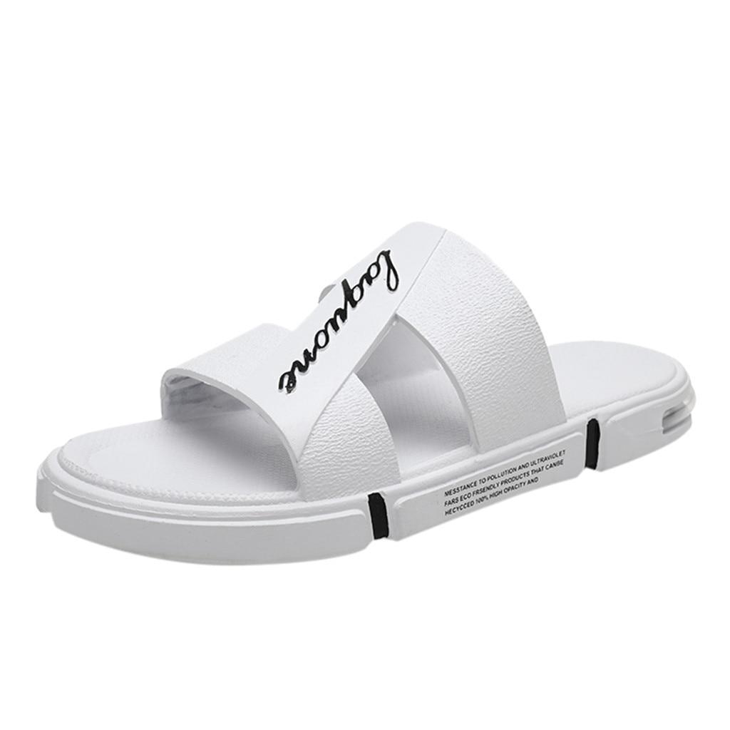 SAGACE мужские уличный тотем, Модные мужские повседневные однотонные Нескользящие пляжные тапочки, мягкие Нескользящие тапочки на воздушной подушке - Цвет: Белый