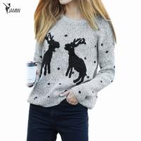 Elk Sweaters Women 2016 Hot Sale Winter O Neck Long Sleeve Pullovers Knitted Sweater Female Warm