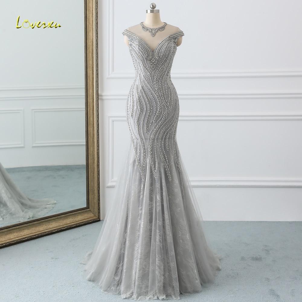 Loverxu Elegant O Neck Cap Sleeve Long Mermaid   Prom     Dress   2019 Sexy Beaded Crystal Gray Trumpet   Dress   for Party Vestido De Festa