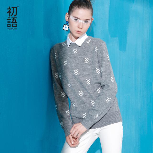 Toyouth 2017 Nuevas Mujeres de la Llegada de Acrílico Suéteres Otoño Geométrica Impreso Suéteres Casuales