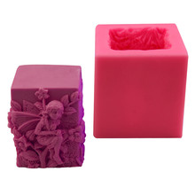 3d angel fairy girl silica gel mold handmade soap making mold square stereo candle silicone mold