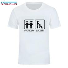 Проблема решена T рубашки мужские хлопковые короткий рукав Забавный принт человек для досуга свободное большое футболка Для мужчин s, футболки, топы