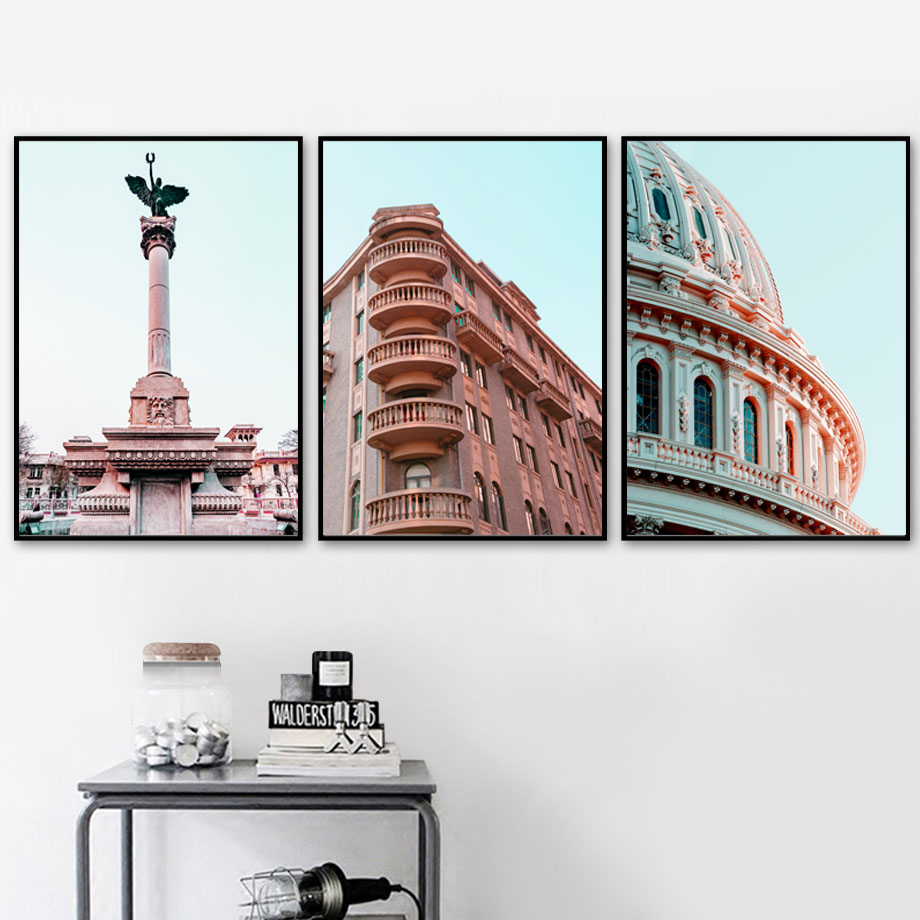 Paris London Church Building Wall Art Canvas Painting Nordic Posters And Prints Wall Pictures For Living Room Decor in Painting Calligraphy from Home Garden