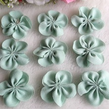 40pcs 40mm Chiffon Ribbon Flowers Double Handmade Apparel Accessories Sewing Appliques DIY Crafts A642