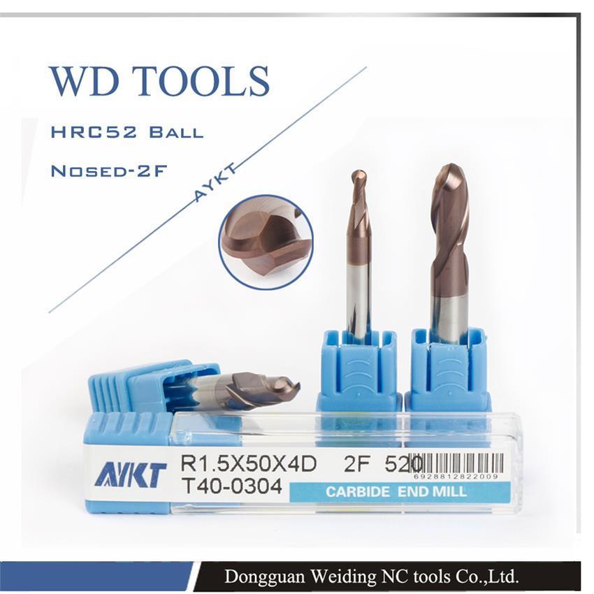 2PCS radius 6mm balls endmills 6.0RX24CX75X12D HRC52 2 flutes Tungsten Carbide Ball Nose End Mill set CNC milling 52HRC mills цена