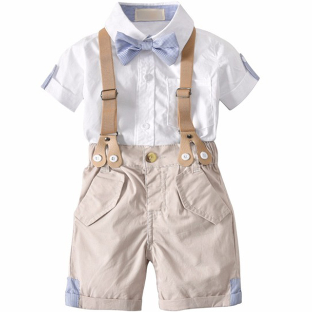 Bébé d'été Bébé Garçons Vêtements Ensembles À Manches Courtes Bow Tie Shirt + Bretelles Shorts Pantalon Formelle Gentleman Costumes vêtements infantile
