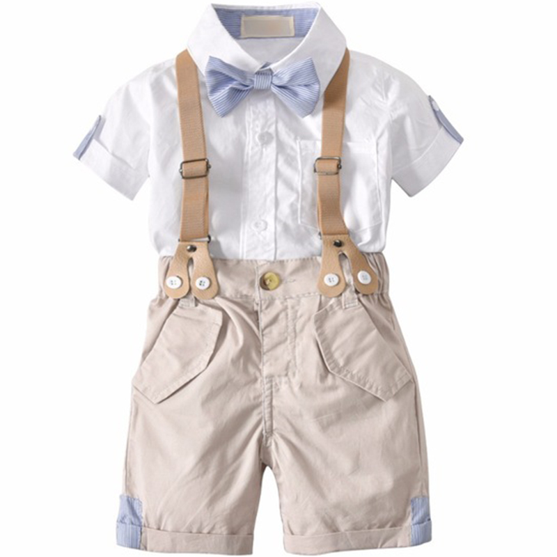 72ec959388219 Summer Toddler Baby Boys Clothing Sets Short Sleeve Bow Tie Shirt + Suspenders Shorts Pants Formal Gentleman Suits clothes infant