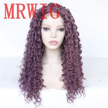 MRWIG Mixed Purple Color Long Kinky Curly Synthetic Front Lace Wig Glueless Heat Resistant Fiber fluffy curly heat resistant synthetic long lace front wig