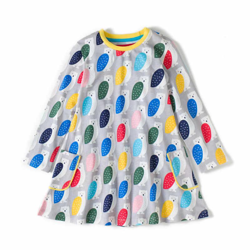 เสื้อผ้าเด็กผ้าฝ้ายชุดเดรสยี่ห้อ Robe Princess พิมพ์สัตว์นกฮูกกระโดดเด็กสาวแฟชั่นชุดเดรสสำหรับสาว