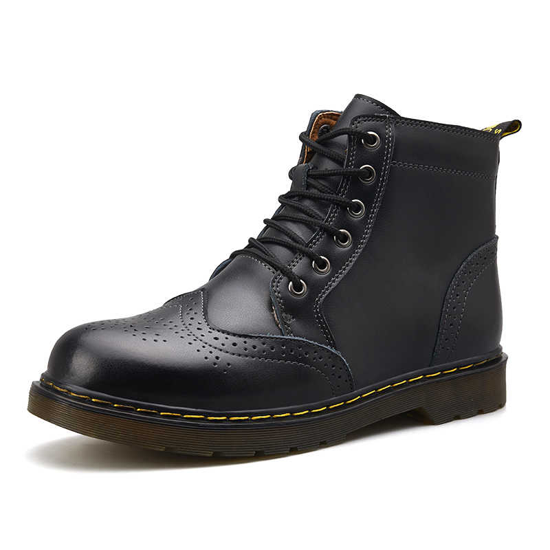 Мужские зимние ботинки из натуральной кожи; зимние мужские теплые зимние ботинки; зимние водонепроницаемые ботильоны на меху; Ботинки martin; уличные рабочие ботинки
