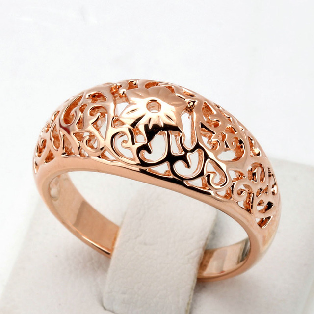 QCOOLJLY Top Quality Flower Hollowing craft Rose Gold Color Ring Fashion Women P