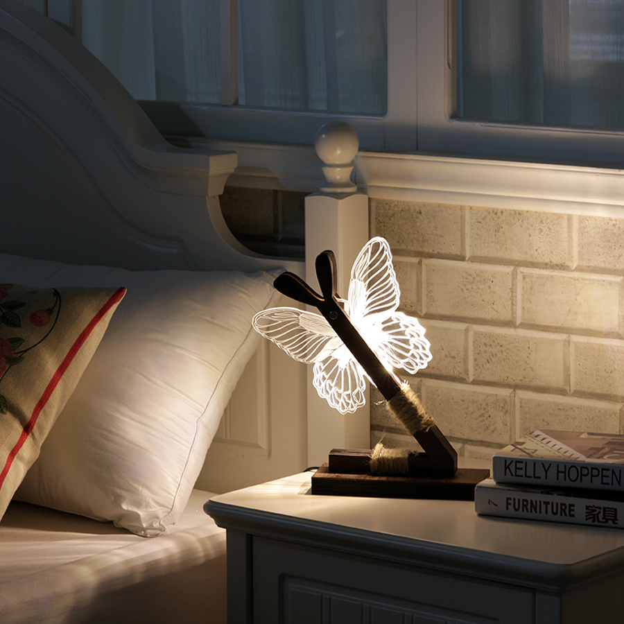 Thrisdar Dimmable Acrylic 3D Cute Butterfly LED Night Light Butterfly Bedroom Bedside Wooden Table Light Best Gift For Girl Lady