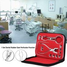 1 Set cuidado de los dientes Dental dique de goma conjunto perforantes de Puncher Alicates para dentista ortodoncia laboratorio dispositivo de instrumento equipos de 12 piezas