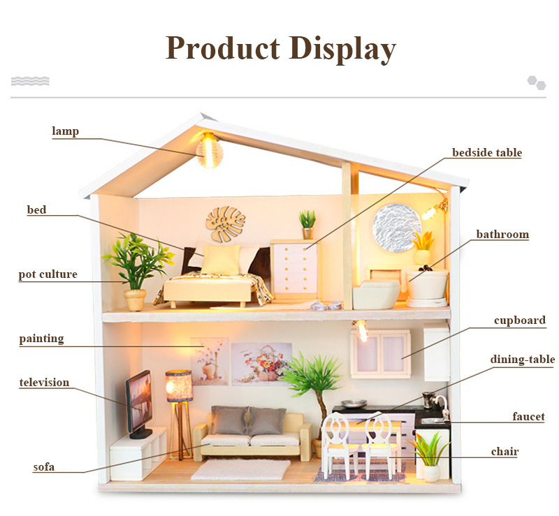 DIY Doll House Wooden Miniature Dollhouse Furniture Assemble Kits 3D Handmade Mini Dollhouse Toys for Children Birthday Gifts Light Time (2)