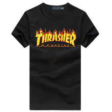 New Funny thrasher letter print men's t-shirt summer cotton hip hop mma tshirt homme fashion streetwear fitness brand clothing
