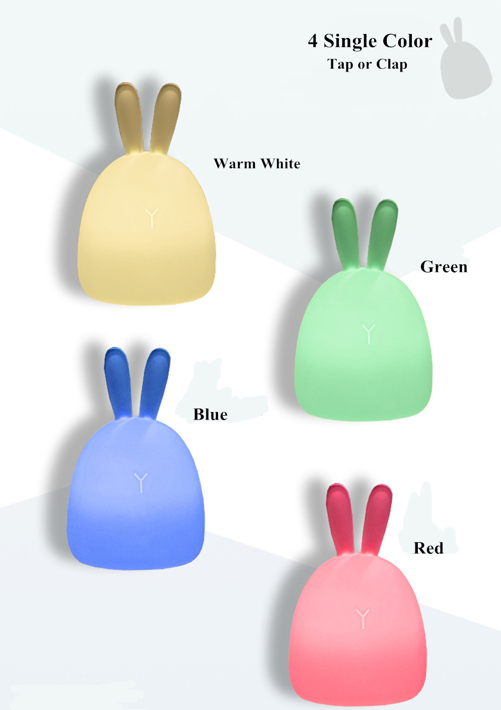SuperNight Rabbit LED Night Light Vibration Touch Sensor Colorful USB Silicone Bunny Bedside Table Lamp for Children Kids Baby (15)