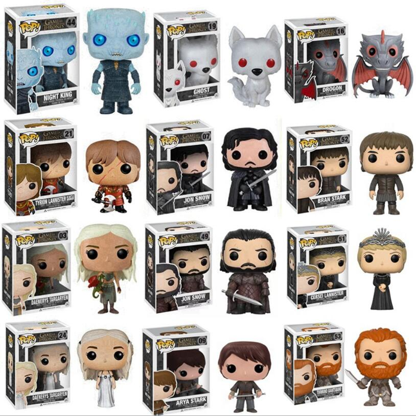 Pop Game of Thrones Night King Jon Snow Daenerys Aya Bran Cersel Drogon Ghost Tormund Tyrion Vinyl Action Figures Collection Toy