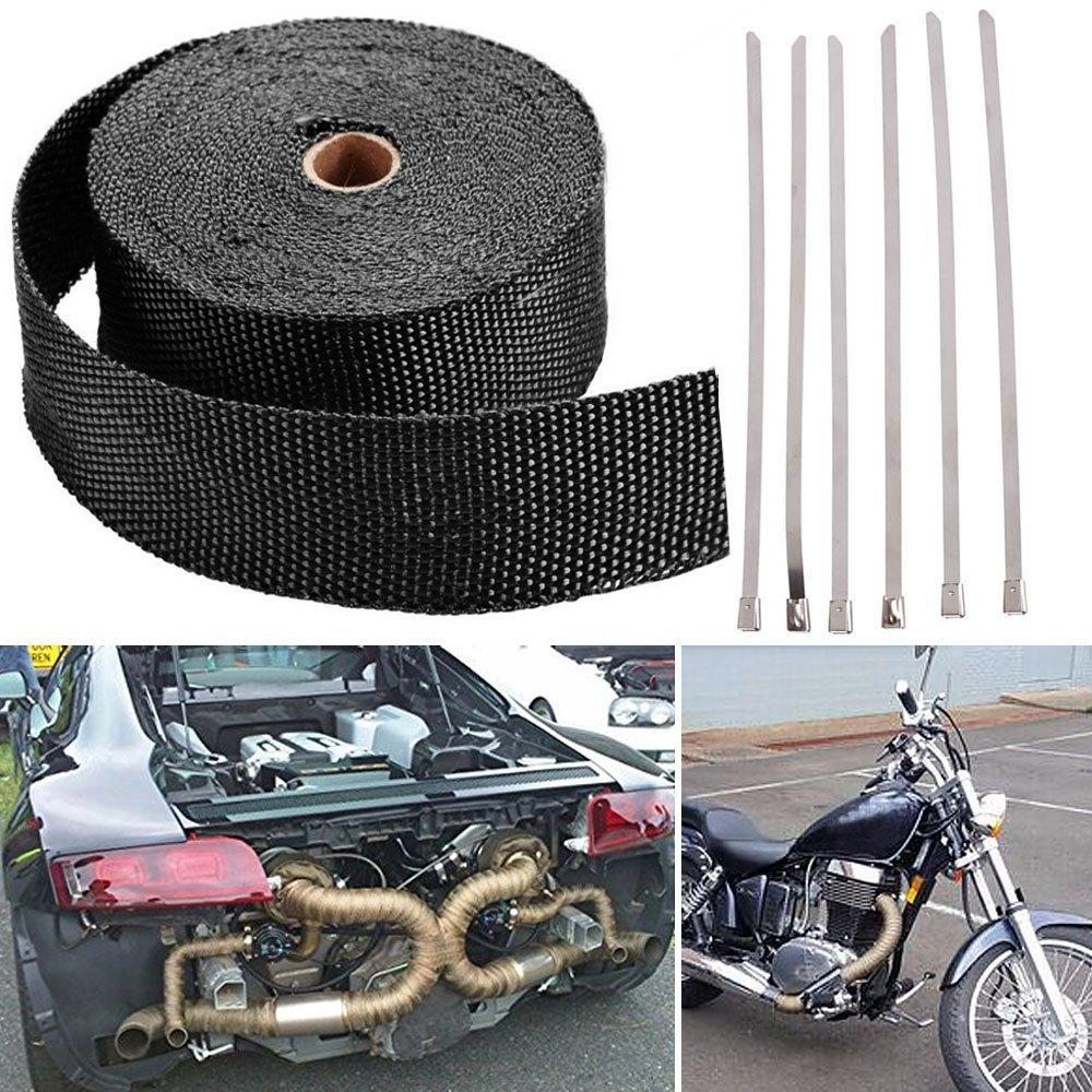 "2/"" 50Ft Titanium Exhaust Header Fiberglass Heat Wrap Roll Tape+6 Ties Kit US"