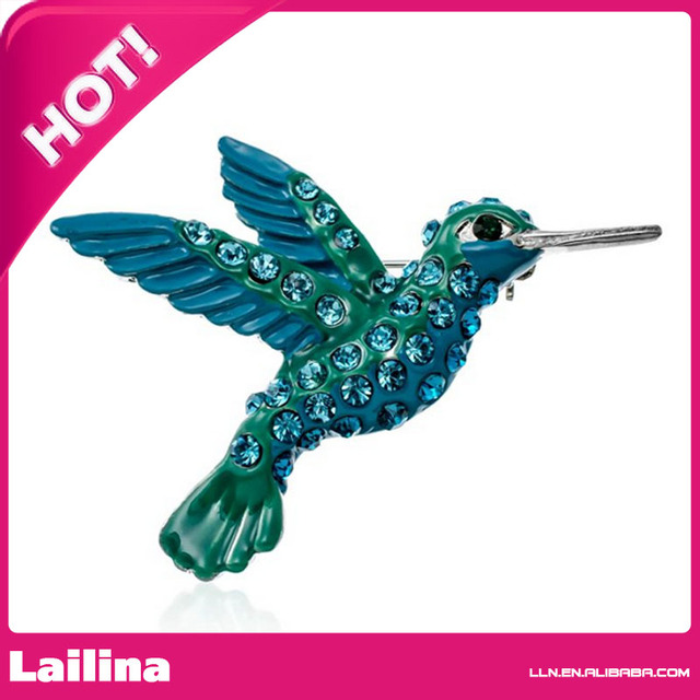 Large Blue Crystal Hummingbird Brooch Pin