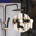 Набор для душа Senducs черного и золотого цвета  новый дизайн  полированная Душевая система для ванной комнаты  высококачественный латунный ду...